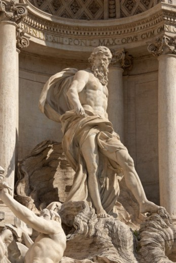 Stock Photo: 1672R-32513 Statue of Neptune in the Trevi Fountain in Rome