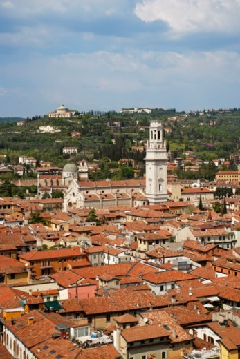 View over city of Verona with red rooftops : Stock Photo
