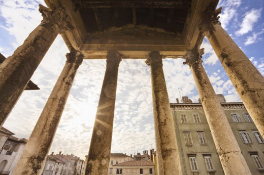 Temple built in the 1st Century AD in the heart of the Roman city. : Stock Photo