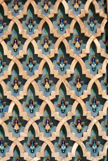 Mosaic Wall, Hassan II Mosque-Casablanca, Morocco : Stock Photo