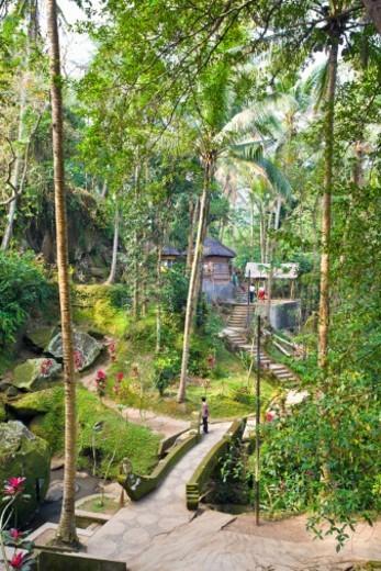 Gardens in Goa Gajah temple : Stock Photo