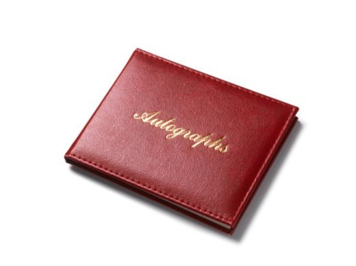 Autograph book on white background : Stock Photo