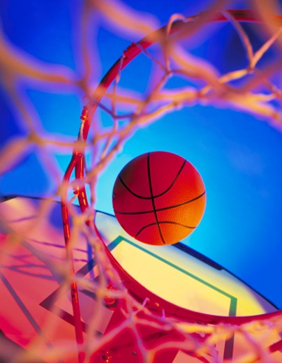 Stock Photo: 1672R-35459 altered color basketball hoop and net