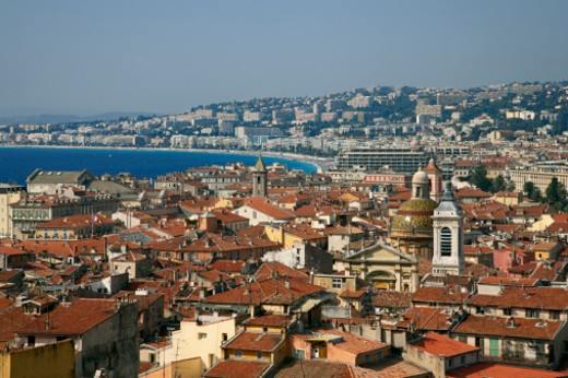Elevated view of old quarter of Nice : Stock Photo