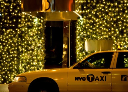 New York City Taxi during holiday season : Stock Photo
