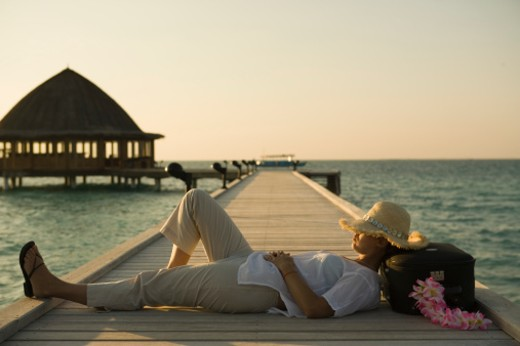 Stock Photo: 1672R-3832 Evening, Maldives.