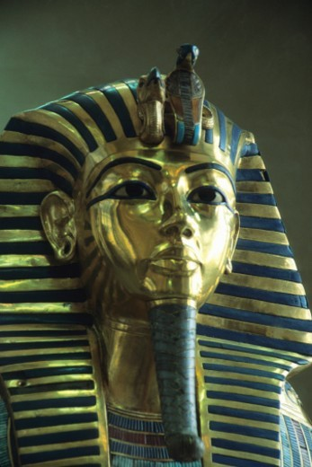 Stock Photo: 1672R-38630 Death Mask of Tutankhamen, King, Archaeology, Museum, ancient civilization, statue, ancient Egyptian culture, capitol cities, male likeness, ornate, royalty, antiquities, Gold, Mask, Pharaoh, sculpture, Close-Up, Egyptian Culture, travel destinations, international landmark, Egyptian Museum