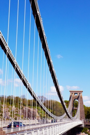 Stock Photo: 1672R-39869 The Clifton Suspension bridge. 'Clifton Suspension Bridge' spans the Avon Gorge, was designed by Isambard Kingdom Brunel and completed in 1864. It is grade 1 listed