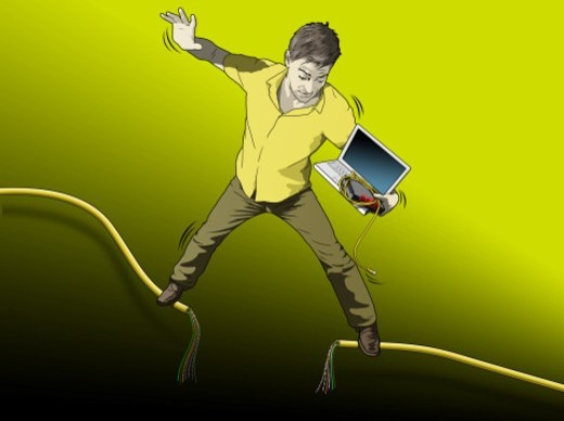 Man on Kabel, wire with Laptop : Stock Photo