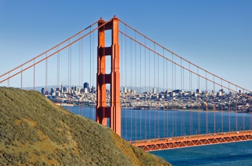 Golden Gate Bridge and San Francisco. : Stock Photo