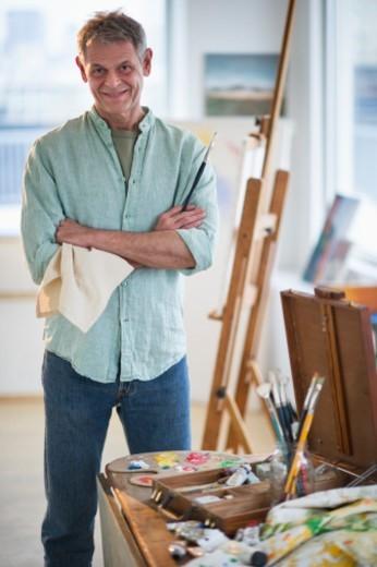 Stock Photo: 1672R-40871 Portrait of artist in his studio