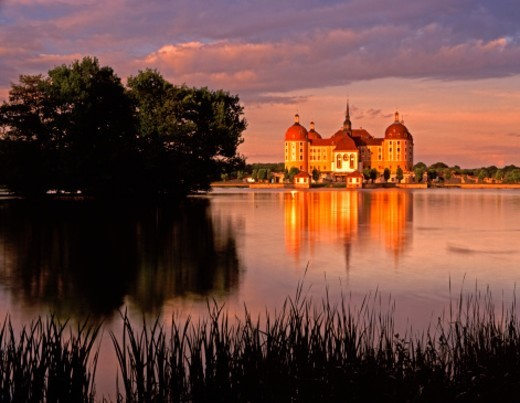 Moritzburg moated castle near Dresdaen : Stock Photo