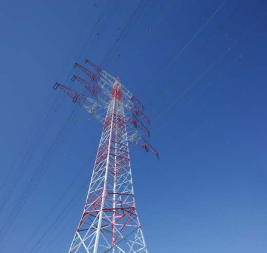 High tension power line pylon : Stock Photo
