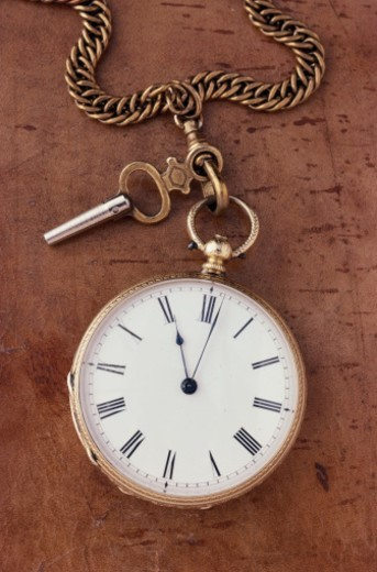 Stock Photo: 1672R-4171 Antique pocket watch, overhead view