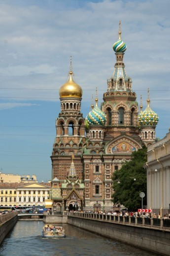 Stock Photo: 1672R-41726 Church of the Savior on Spilled Blood in St. Petersburg.  It is also called the Church of Spilt Blood and the Cathedral of the Resurrection of Christ.  Construction began in 1883.