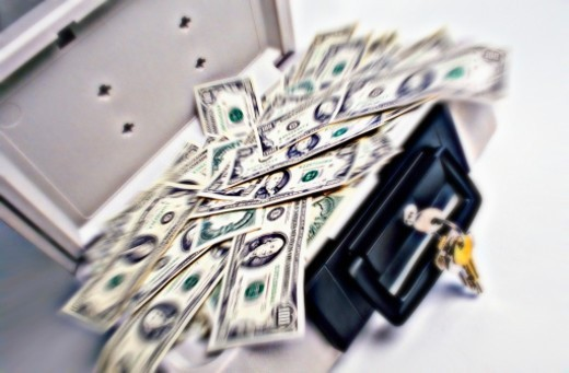 Stock Photo: 1672R-42023 Graphic look at a safe-briefcase full of cash.