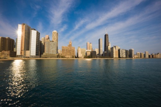 Near North skyline and Lake Michigan, Chicago, Illinois, USA : Stock Photo