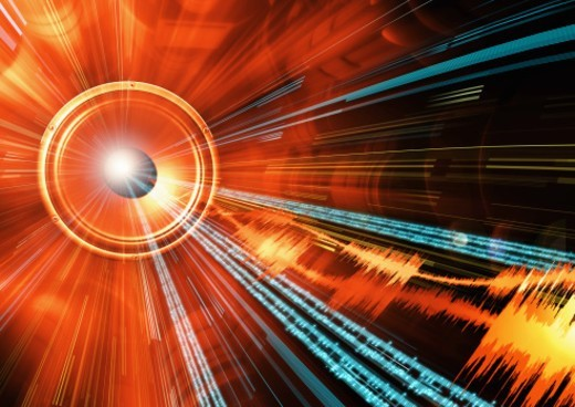 Shot of an audio speaker with music notation, music samples and beams of light emanating from it. : Stock Photo