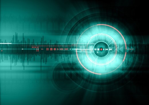 Stock Photo: 1672R-44106 A human eye set against a digitally generated background containing film strips, audio speakers and audio samples.