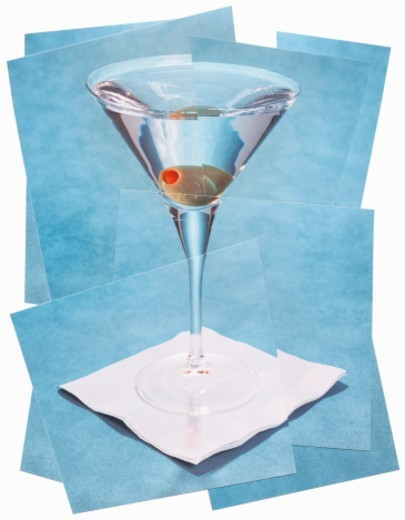 Collage of martini cocktail on napkin : Stock Photo