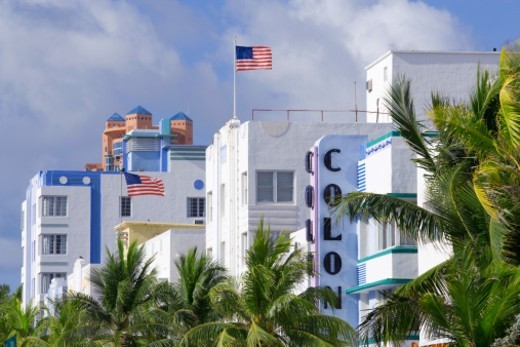 Art Deco buildings in the South Beach section of Miami Beach, Florida, USA : Stock Photo