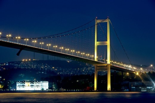 Ataturk bridge over Bosphorus : Stock Photo