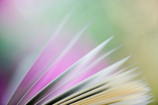 Close-up of an open book with pages splayed : Stock Photo