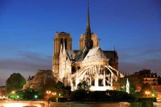 Stock Photo: 1672R-47617 NOTRE DAME CATHEDRAL AT NIGHT, PARIS, FRANCE