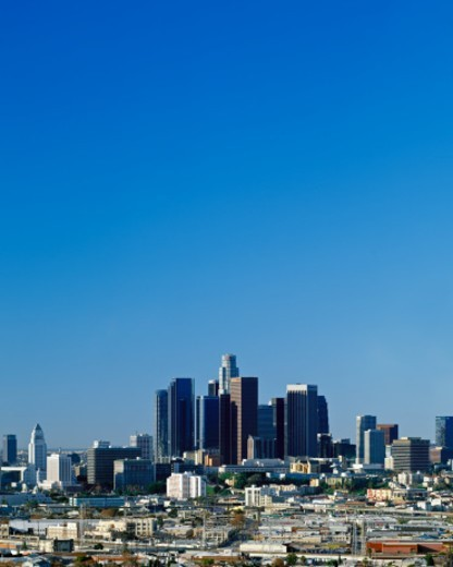 Stock Photo: 1672R-47632 Downtown Los Angeles under blue sky on a clear winter morning