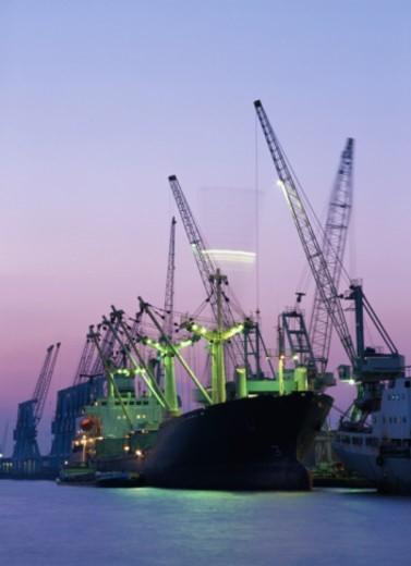 Belgium, Antwerp, shipyard at dusk : Stock Photo