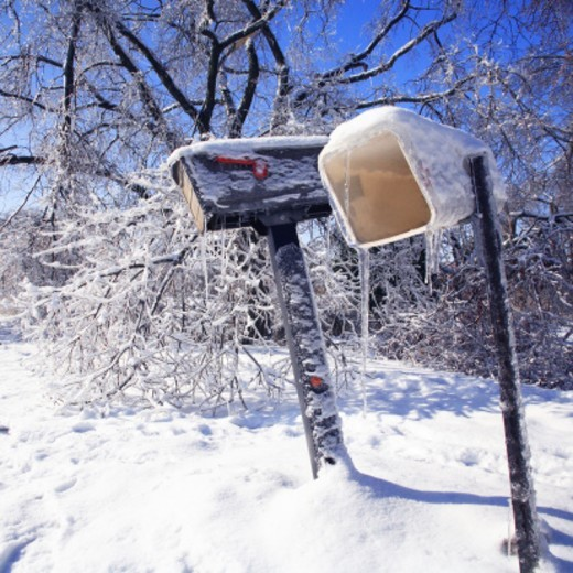 Stock Photo: 1672R-47990 Mailboxes during ice storm