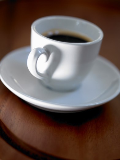 Stock Photo: 1672R-48495 Cup of Espresso Coffee with Heart Shaped Handle