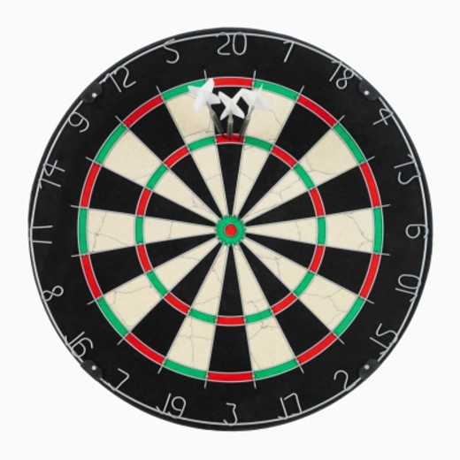 Dart board and three darts in treble twenty : Stock Photo