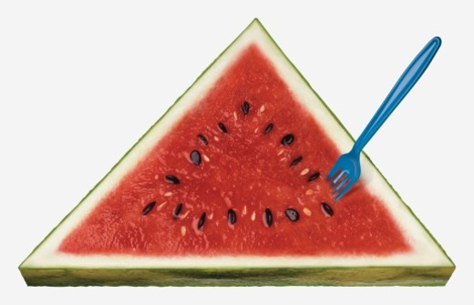 Stock Photo: 1672R-48887 Triangle-shaped watermelon