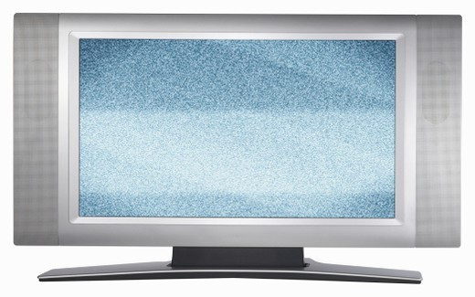 Flat screen TV monitor with bad reception : Stock Photo