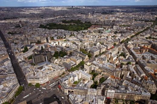 High angle panorama of paris : Stock Photo