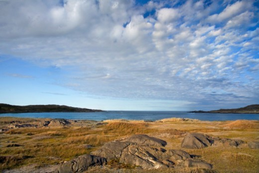 Sandy Cove on Fogo Island, one of the four corners of the world according to the Flat Earth Society  : Stock Photo