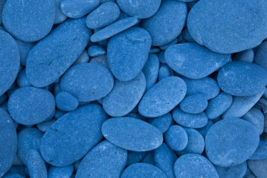 Blue rocks on seashore : Stock Photo