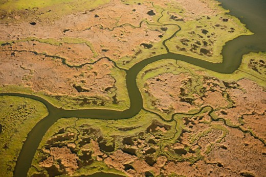 Stock Photo: 1672R-51902 Aerial photograph of a creek and marsh flowing in to the Chesapeake Bay on Maryland's Eastern Shore.