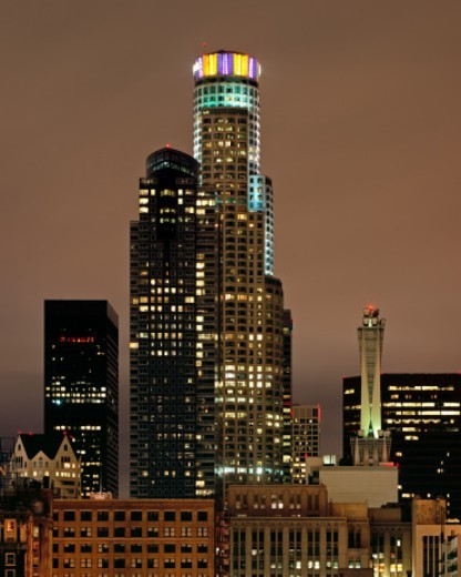 Los Angeles Lakers colors lit for the NBA finals : Stock Photo