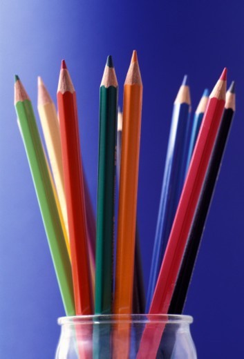 Stock Photo: 1672R-52896 Assorted Colouring Pencils, Close Up