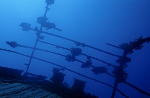 New Caledonia, Noumea lagoon, Belama shipwreck, balustrade on deck, underwater : Stock Photo