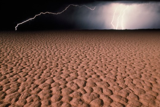 USA, Nevada, lightning over desert at dusk : Stock Photo