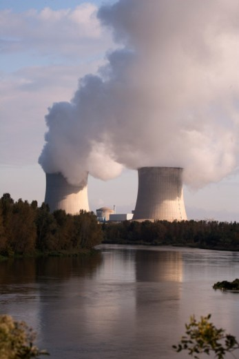 Nuclear  power plant, River Valley : Stock Photo