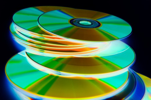 Colorful stack of CDs (digital ehancement) : Stock Photo