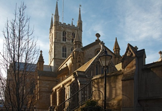 Stock Photo: 1672R-55274 Southwark Cathedral in winter in London SE1, England UK