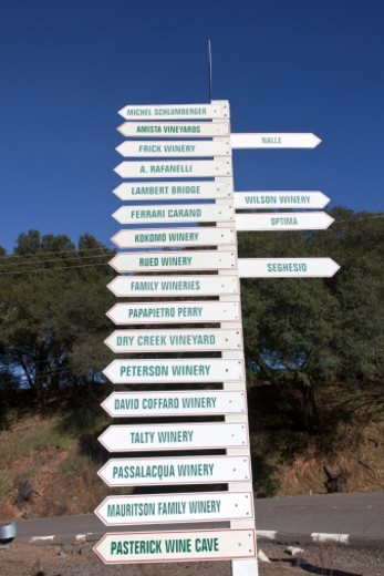 Stock Photo: 1672R-55421 Sonoma wine country signs pointing to local Wineries in the wine country of California, the Dry Creek Valley area.