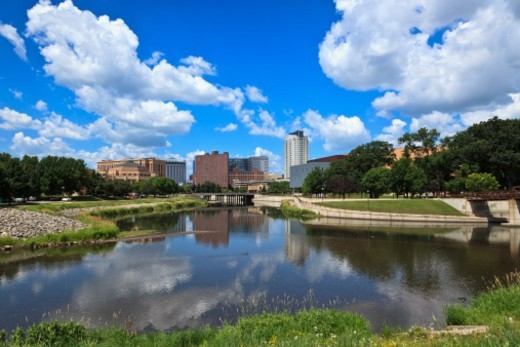 Rochester, MN Skyline WIth Zumbro River : Stock Photo
