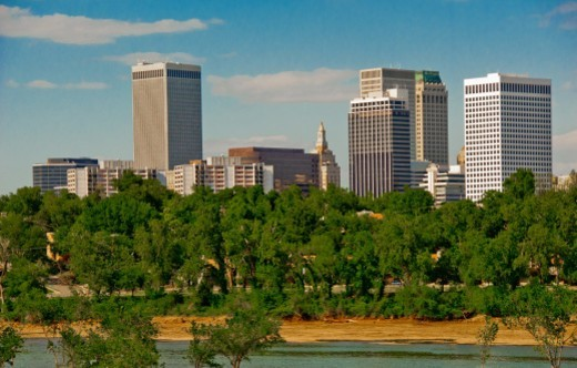 River Park and downtown skyline of Tulsa, Oklahoma, USA : Stock Photo