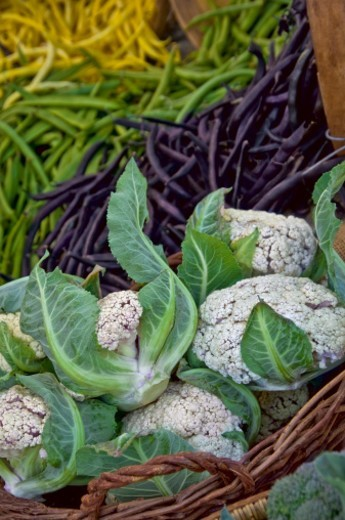 Stock Photo: 1672R-56489 Cauliflower and Beans for sale at Farmers Market